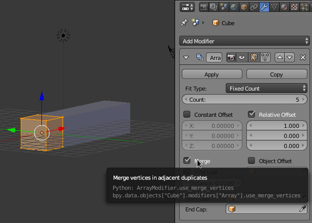 screenshot of using array modifier