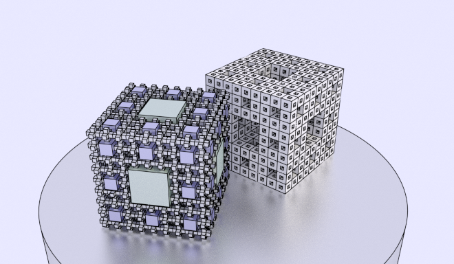 menger sponge neagtive and positive