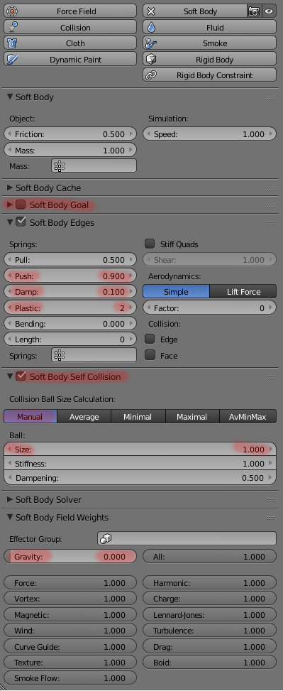 soft body parameters