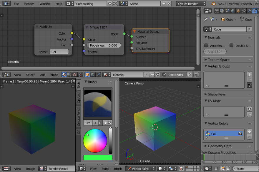 vertex color in blender